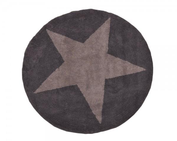 Kinderteppich rund Stern Linen Grau