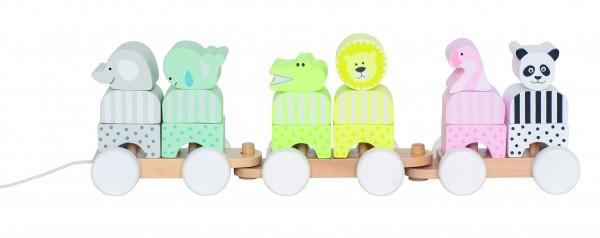 JaBaDaBaDo - Holzzug mit Bausteinen und Tieren in Pastellfarben