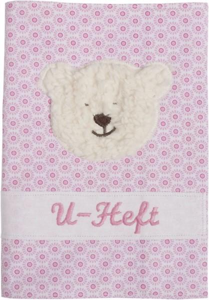 U-Hefthülle mit Namen in rosa mit Teddy