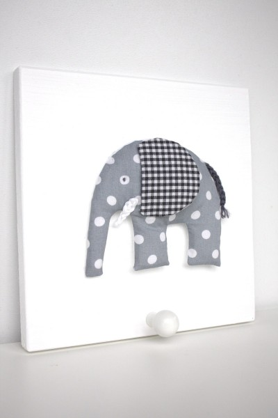 Einzelgarderobe Elefant Grau
