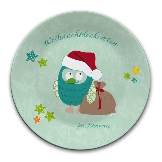 Weihnachtsteller Eule mint