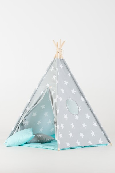 WigiWama - Tipi Set Sterne - Grau mit Matte in Blau