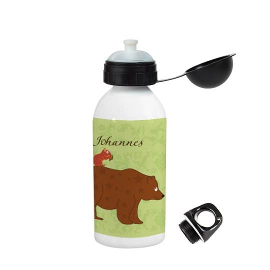 Trinkflasche mit Namen floral Bär