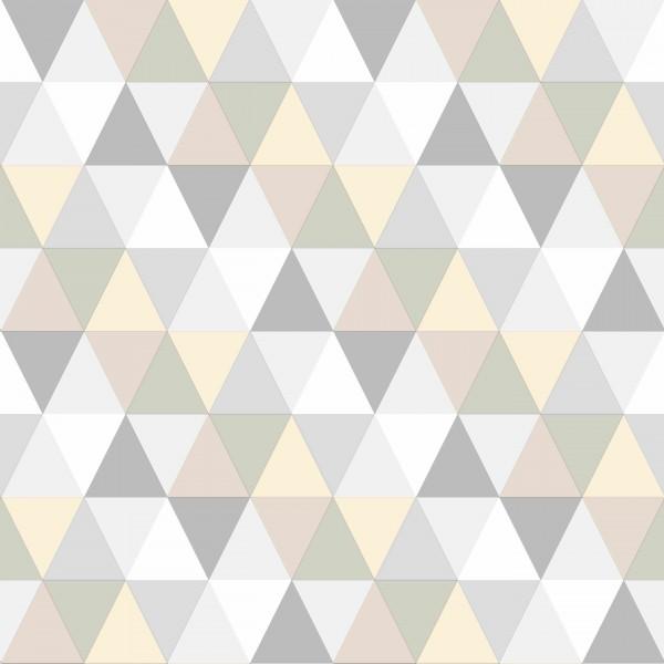 Tapete Retro Dreiecke Grau
