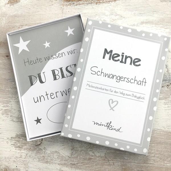 """Mintkind - Meilensteinkarten """"Meine Schwangerschaft"""" grau"""