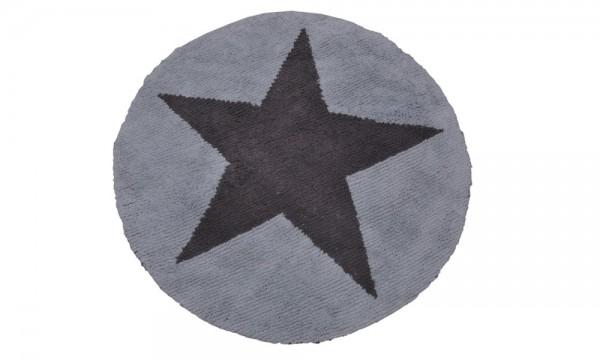 Kinderteppich rund Stern Hellblau