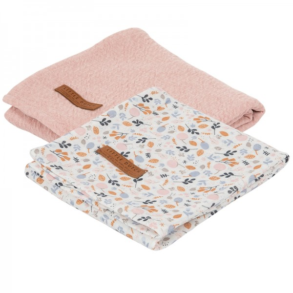 "Little Dutch - Swaddle Tücher 2er-Set ""Spring Flowers"" 70 x 70 cm"