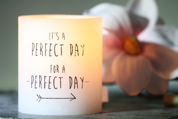 "Rustik Lys - Windlicht ""It's a perfect day"" - 10 x 11 cm"