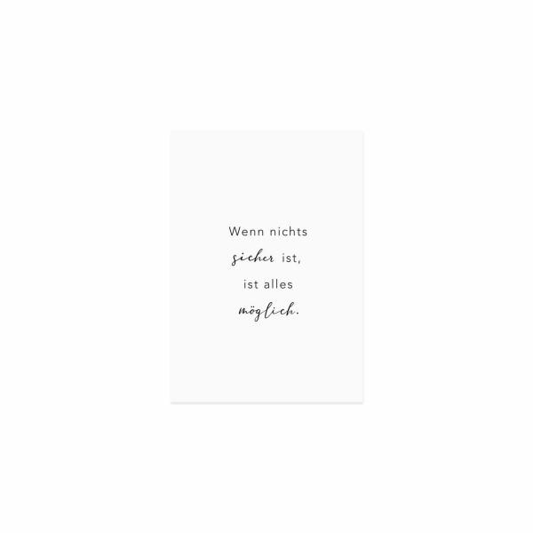 """Eulenschnitt - Postkarte """"Wenn nichts sicher ist, ist alles möglich"""""""