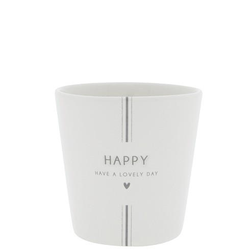 """Bastion Collections - Becher groß """"Happy - Have a lovely day"""" - weiß/grau"""