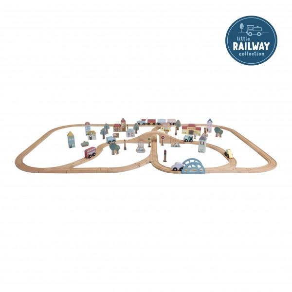 Little Dutch - XXL Eisenbahn-Set aus Holz mit Schienen & Zubehör