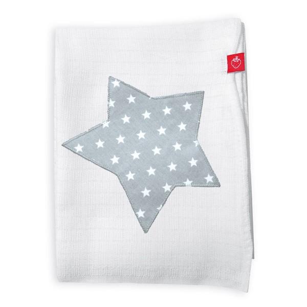 Mullwindeln mit Stern Grau
