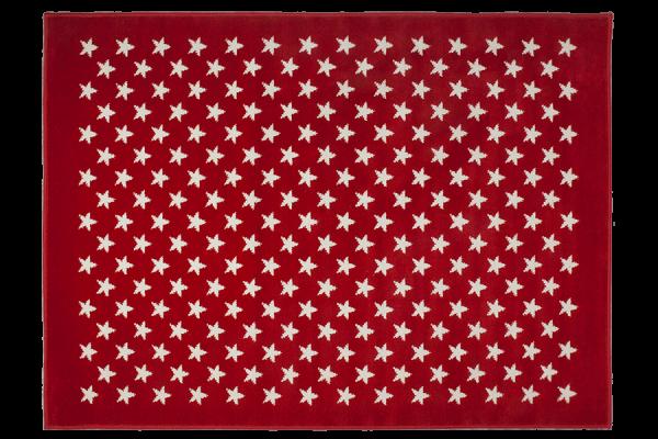 Kinderteppich Rot mit Sternen Weiß