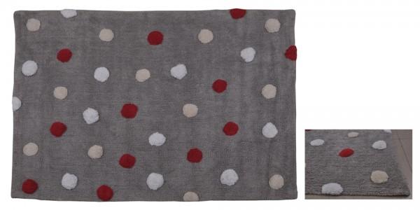 Kinderzimmerteppich mit Punkte Grau-Rot