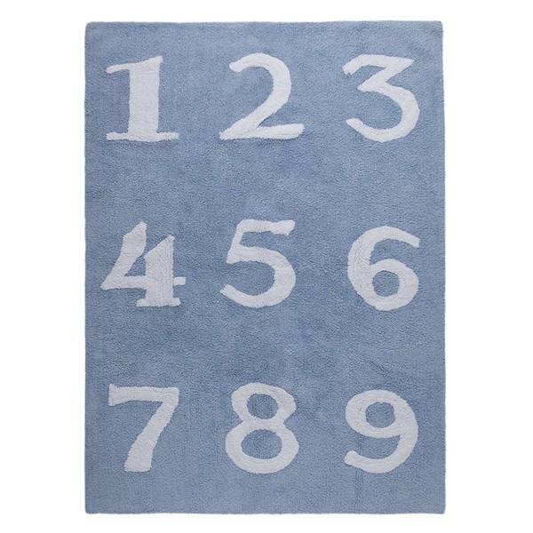 Kinderzimmerteppich Zahlen Hellblau