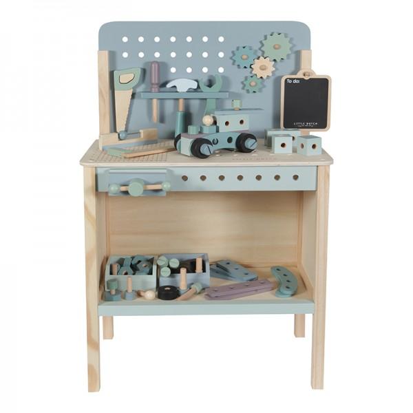 Little Dutch - Spielwerkbank aus Holz mit Zubehör - blau/mint