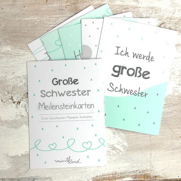 """Mintkind - Meilensteinkarten Mini-Set """"Große Schwester"""" mint/grau"""