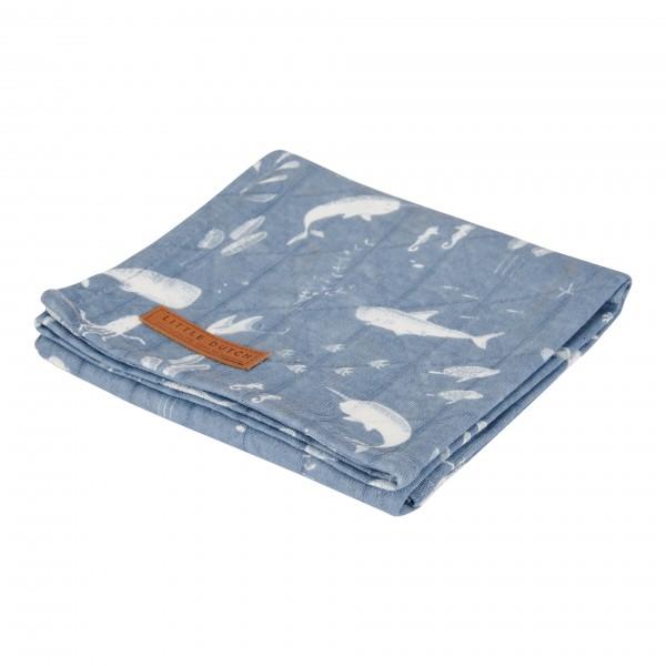 "Little Duch - Swaddle Tuch ""Ocean Blue"" 120 x 120 cm"