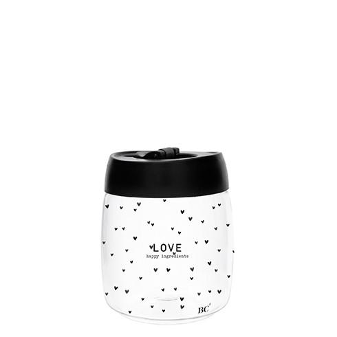 """Bastion Collections - Vorratsglas mit Vakuumdeckel (klein) """"LOVE - happy ingredients"""" - schwarz"""