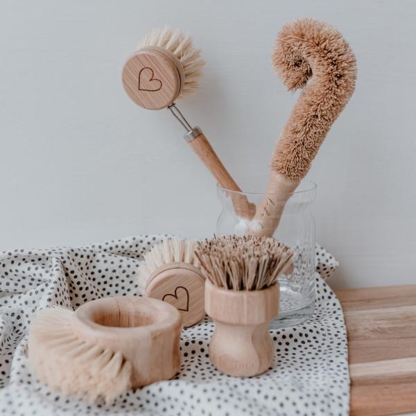 Eulenschnitt - Spülbürsten aus Holz - 5er-Set