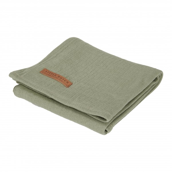 """Little Dutch - Swaddle Tuch """"Pure Olive"""" 120 x 120 cm"""