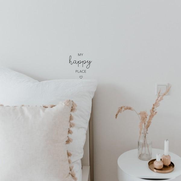 """Eulenschnitt - Sticker """"My happy Place"""" schwarz"""
