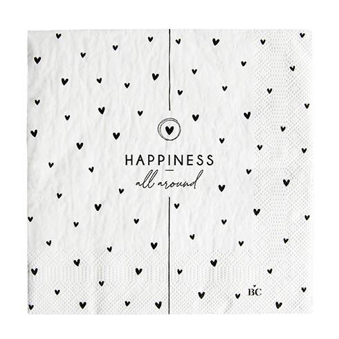 """Bastion Collections - Servietten """"Hearts / Happiness"""" - 20 Stück - weiß/schwarz"""