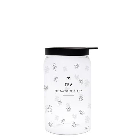 "Bastion Collections - Vorratsglas ""TEA - Heartflowers"" XS - schwarz"