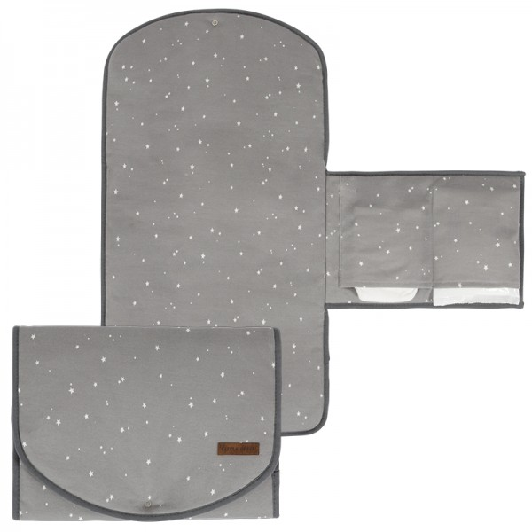 "Little Dutch - Wickelunterlage Komfort ""Little Stars Grey"" 70 x 36 cm"