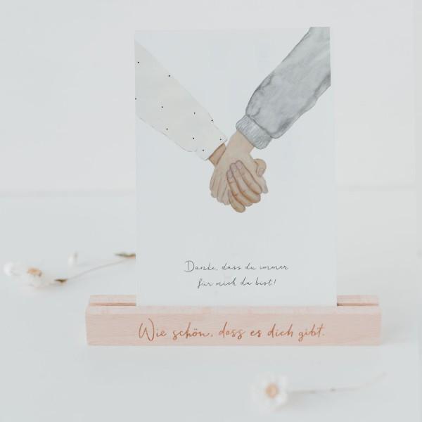 """Eulenschnitt - Postkarte """"Danke / haltende Hände"""""""