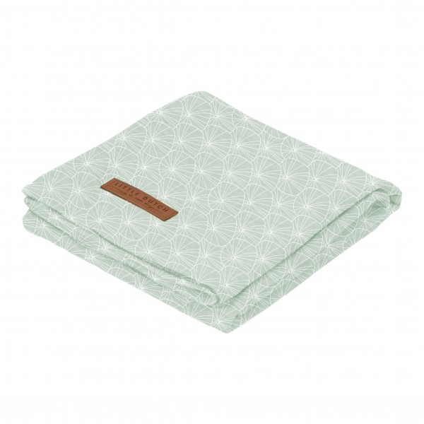 """Little Duch - Swaddle Tuch """"Lily Leaves Mint"""" 120 x 120 cm"""