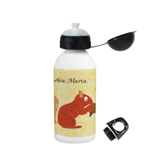 Trinkflasche mit Namen floral Eichhörnchen