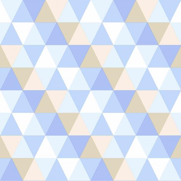 Tapete Retro Dreiecke Hellblau