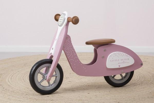 """Little Dutch - Holz Laufrad mit Ständer """"rosa"""""""