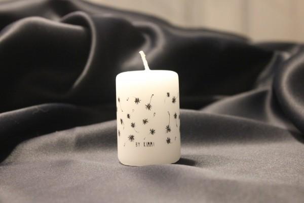 "Rustik Lys - Stumpenkerze klein ""Wish / Pusteblumen"" - 4 x 6 cm"