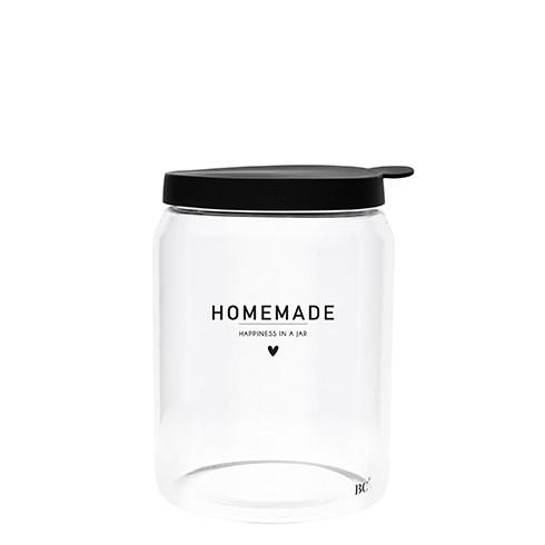 """Bastion Collections - Vorratsglas mit Deckel (groß) """"homemade happiness in a jar"""" - schwarz"""