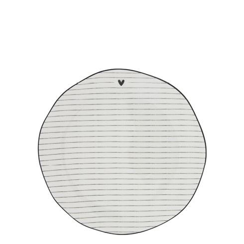 """Bastion Collections - Teller """"Heart & Stripes"""" 16 cm - weiß/schwarz"""