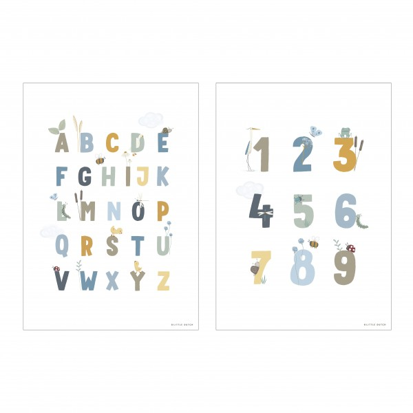 "Little Dutch - Wendeposter ""ABC/Numbers"" - blau"