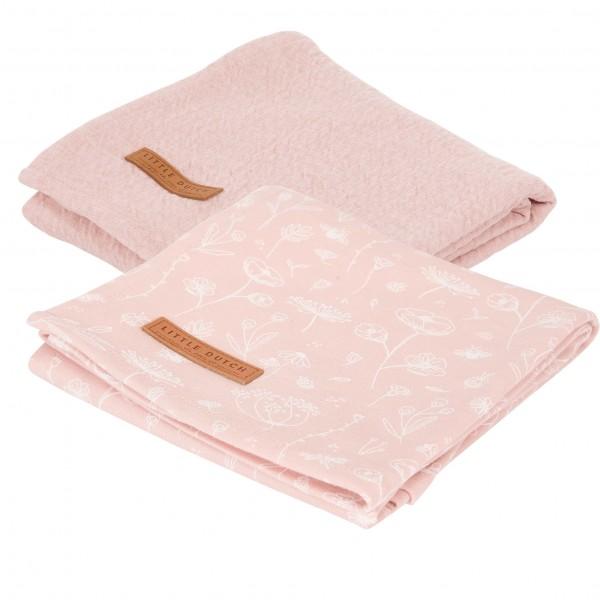 "Little Dutch - Swaddle Tücher 2er-Set ""Wild Flowers Pink / Pure Pink"" 70 x 70 cm"