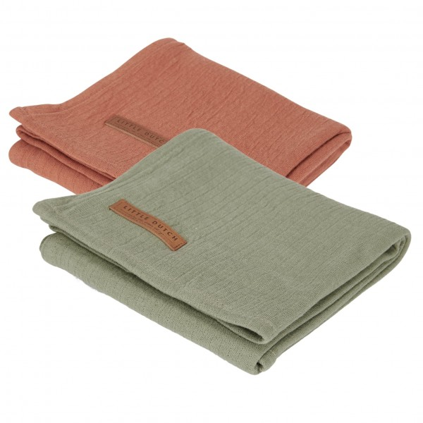 "Little Dutch - Swaddle Tücher 2er-Set ""Pure Olive/Pure Rust"" 70 x 70 cm"