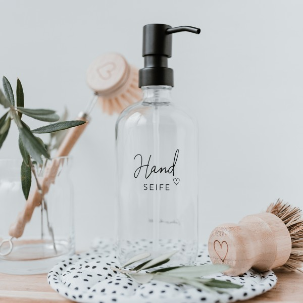 "Eulenschnitt - Seifenspender aus Glas ""Handseife"" transparent"