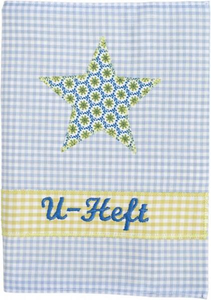 U-Hefthülle mit Namen in hellblau mit Stern