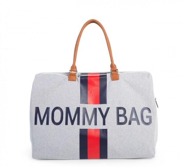 "Childhome - Tasche ""Mommy Bag"" - Canvas grau - Streifen rot/blau"