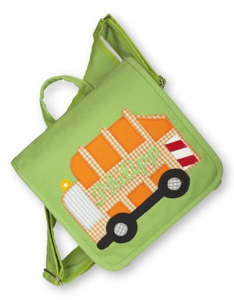"""crepes suzette - Kindergartentasche """"Müllabfuhr"""" grün"""