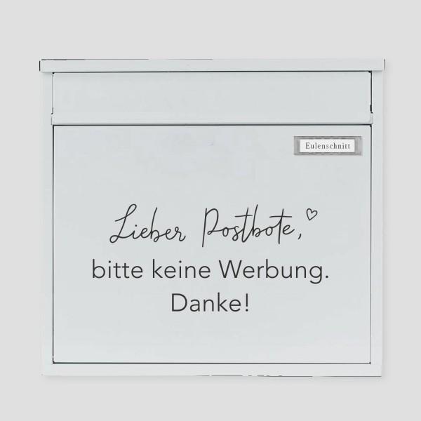 """Eulenschnitt - Sticker """"Bitte keine Werbung"""" - schwarz"""