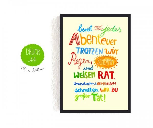 """Poster A4 """"bereit für jedes Abenteuer"""""""
