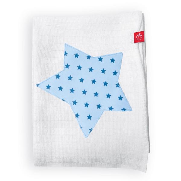 Mullwindeln mit Stern Hellblau